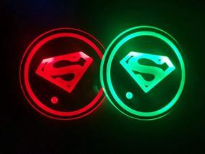 2pcs LED Car Cup Holder Lights, 7 Colors Changing USB Charging Mat Luminescent Cup Pad, Auto Interior Lights Lamp Decoration (SuperMan)