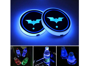 2pcs LED Car Cup Holder Lights, 7 Colors Changing USB Charging Mat Luminescent Cup Pad, Auto Interior Lights Lamp Decoration (Batman)