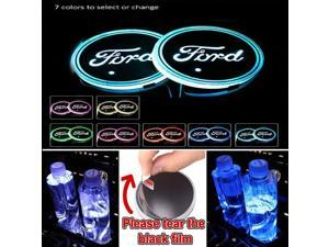 2pcs LED Car Cup Holder Lights, 7 Colors Changing USB Charging Mat Luminescent Cup Pad, Auto Interior Lights Lamp Decoration (FORD)