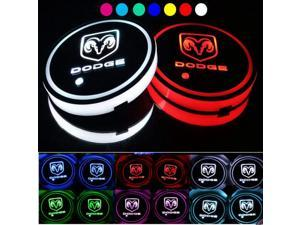 2pcs LED Car Cup Holder Lights, 7 Colors Changing USB Charging Mat Luminescent Cup Pad, Auto Interior Lights Lamp Decoration (DODGE)