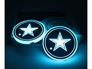 2pcs LED Car Cup Holder Lights, 7 Colors Changing USB Charging Mat Luminescent Cup Pad, Auto Interior Lights Lamp Decoration (Dallas)
