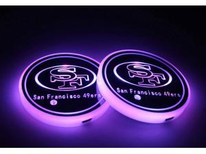 2pcs LED Car Cup Holder Lights, 7 Colors Changing USB Charging Mat Luminescent Cup Pad, Auto Interior Lights Lamp Decoration (49ers)