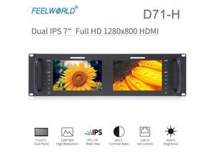 Feelworld D71-H Monitor 7 Inch Dual IPS on Camera DSLR 3RU 1280x800 LCD Display HDMI Portable 2 Screens Broadcast Field Monitor