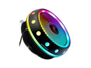 COOLMOON RGB CPU Cooler CPU Cooling Fans, Radiator DC 12V 3Pin Colorful Backlight PC Aluminum Heatsink for Intel/AMD Tool Free