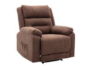 Walsport Massage Recliner Sofa Lounge Chair Reclining Single Fabric Sofa Armchair with Adjustable Backrest and Footrest 8 Point Massage & Lumbar Heat for Living Room Brown