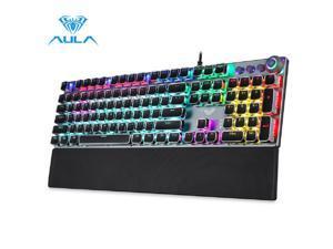 AULA F2088 True Mechanical Gaming Wired Keyboard wrist rest Multimedia Knob, Marco Programming metal panel LED Backlit keyboard