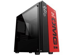 OMG Mini Tower PC Gaming Case, Tempered Glass Side Panel, Front I/O USB 3.0 Port, Water-Cooling Ready, Computer Chassis Desktop Case
