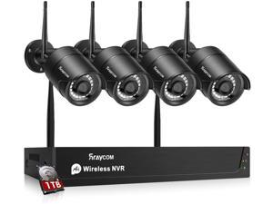 Rraycom 8CH Wireless Security Surveillance System H.265 1080P NVR with 1TB Hard Drive and (4) x1080P HD Wireless IP Cameras System,IP67 Waterproof,115ft Night Vision,App Remote View P2P Plug Play