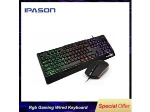 IPASON Gaming Keyboard and Mouse Combo Wired,Color Changing LED Backlit Computer Gaming Keyboad,Lighted PC Gaming Mouse,USB Keyboard Clicky Keys,for PC Games Gamer Working,BLACK