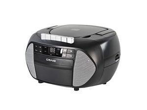 Craig CD6951-SL Portable Top-Loading CD Boombox with AM/FM Stereo Radio and Cassette Player/Recorder in Black and Silver | 6 Key Cassette Player/Recorder | LED Display | (CD6951-SL)