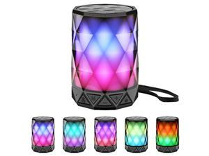 LED Portable Bluetooth Speakers with Lights, LFS Night Light Waterproof,Speakers Color Change Computer Speaker,Mic TF Card TWS Support for iPhone Samsung Gaming Christmas (Multi) (LFS190)