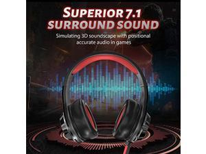 EDIFIER G4 Gaming Headset for PC, PS4, 7.1 Surround Sound Gaming Headphones with Noise Canceling Microphone, Wired USB On-Ear Headphone with Vibration Driver  and  LED Light for Mac, Laptop,Red