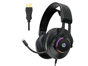 HP USB PC Gaming Headset with Microphone- 7.1 Virtual Surround Sound Game Headphones with Noise Cancelling Mic -Breathable Leatherette Memory Foam Earpads LED RGB Backlit for Computer/Laptops/ (HP36g)