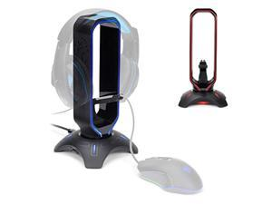 ENHANCE Gaming Headset Stand - LED Headphone Hanger with Mouse Bungee and 2 Port USB Hub - 7 RGB Colors + Color Changing Mode, Headset Hanger, Mouse Bungee 3-in-1 Gaming Desktop Acces (ENPCGXH100BKEW)