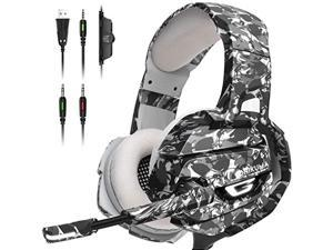 ONIKUMA Gaming Headset, Gaming Headphone with Microphone and Noise Canceling  and  LED Light, Memory Earmuffs for PS4, Xbox One, PC,Gamecube, Nintendo 64 (Adapter Not Included) (GamingHeadsetK5)