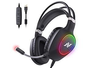 ABKONCORE Gaming Headset with Noise-canceling Microphone, Lightweight PS4 Headset with 50mm Speaker Driver, Cool RGB LED Light, Gaming Headphone with Pressure-Relieving Ear Cushion for PS4, PC, Lapto