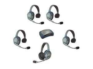 Eartec HUB541 UltraLITE Wireless System - 1 HUB Full Duplex Transceiver, 1 ULDR Dual Ear DECT Headset, 4-Pack of ULSR Single-Ear Remote Headsets (HUB541)