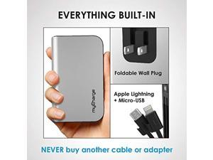 myCharge Portable Charger for iPhone Built in Cable Power Bank Fast Charging Hub 10050 mAh Lightning, Micro USB, Wall Plug USB Battery Pack External Cell Phone Backup, 55 Hrs Power (HB10V)