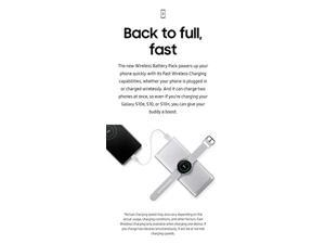 Samsung 2-in-1 Portable Fast Charge Wireless Charger and Battery Pack 10,000 mAh, Silver (US Version with Warranty) (ogewda-067)