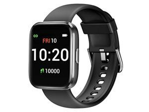 Letsfit Smart Watch for Android Phones Compatible with iPhone Samsung, Fitness Tracker with Blood Oxygen Saturation  and  Heart Rate Monitor, IP68 Waterproof Cardio Watch for Women Men, Black
