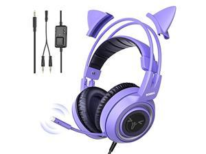 SOMIC G951S Purple Stereo Gaming Headset with Mic for PS4, PS5, Xbox One, PC, Phone, Detachable Cat Ear 3.5MM Noise Reduction Headphones Computer Gaming Headphone Self-Adjusting Gamer Headsets