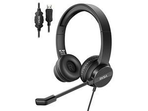 EKSA USB Headset with Microphone for Laptop, Noise Cancelling Computer Headset, Lightweight Mute Control Wired Headphones, All Day Comfort Office Business Headset for Skype, Webinar, Call Center