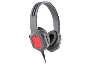 Brenthaven Edge Rugged Over Ear Headphone with Durable Ear Pads, Twistable, Durable Headband for K-12 Students, Teachers and Kids - Gray/Red, Chew Proof Cord (80dB/107dB)