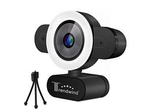 Streaming Webcam with Microphone - 30FPS 1440P Full HD USB Web Camera with Adjustable Brightness Ring Light for Zoom Skype Facetime Mac Video Conferencing Teaching Studying Streaming
