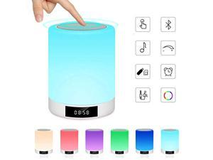 Night Light Bluetooth Speaker, Ranipobo Wireless Stereo Speaker with Alarm Clock, MP3 Player, FM Radio, Touch Control Table Lamp Dimmable Warm Lights & 7 Colors Themes for Kids,Party,Bedroom