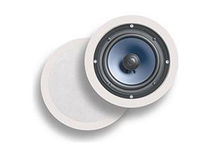 """Polk Audio RC60i 2-way Premium In-Ceiling 6.5"""" Round-Speakers, Set of 2 Perfect-for Damp-and Humid Indoor/Outdoor Placement - Bath, Kitchen, Covered Porches (White, Paintable-Grille)"""