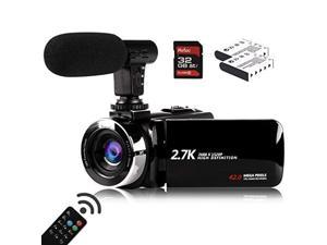 Video Camera Camcorder with Microphone, Vmotal 2.7K HD 42.0 MP 18X Digital Zoom 1080P IR Night Vision Vlogging YouTube Webcam Recorder, 3.0 Inch Screen with 2 Batteries Inculde 32GB SD Card