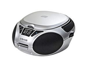 Craig CD6925BT-SL Portable Top-Loading Stereo CD Boombox with AM/FM Stereo Radio and Bluetooth Wireless Technology in Silver | LED Display | Programmable CD Player | CD-R/CD-W Compatible | AUX Port |