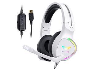 Nivava K12 White Gaming Headset for PC, PS5, 7.1 Surround Sound PS4 Headset with Noise Cancelling Microphone, Over-Ear Headphone with Soft Memory Earpads RGB LED Lights for Computer Laptop Mac(White)