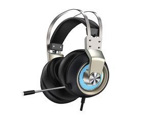 Gaming Headset with Microphone for PS4 PC Switch Mac, 7.1 Surround Sound, Xbox Headset with Noise Cancelling Mic, Over-Ear Headset with Soft Earmuffs, 3.5mm PS5 Headset with LED Lights