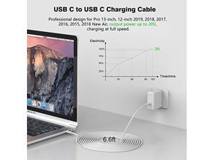 USB C to USB C Charging Cable, Cord Compatible with MacBook Pro, MacBook 12 inch, New MacBook Air, Compatible with 2021/2020/2018 iPad Pro 12.9/11, Pixel 2/3/4 XL, All PD USB C Charger, 6.6ft