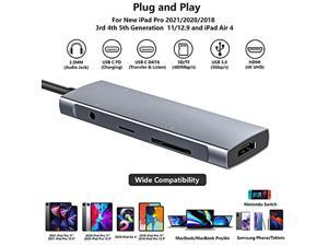 USB C HUB for iPad Pro 9-in-1 Adapter iPad Pro 2021 2020 2018 12.9 11 inch iPad Air 4 Docking Station with 4K HDMI USB-C PD Charging, SD/Micro Card Reader, USB 3.0, 3.5mm Headphone Jack Type C Data