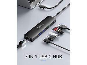 USB C Hub 4K 60Hz, Dockteck 7-in-1 USB-C Hub Multiport Adapter Dongle with 1Gbps Ethernet, 100W PD, HDMI, 2 USB 3.0, SD/Micro SD for MacBook Air/Pro M1 2020, iPad Pro 2021, iPad Air 2020 and More
