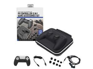 For PS5 Gamepad Storage Bag Set PS5 Silicone Protective Cover, Charging Cable, Earphone 8 Caps, 12-in-1