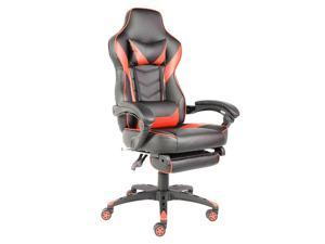 C-type Foldable Nylon Foot Racing Chair with Footrest (Red)