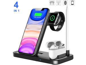 4 In 1 Wireless Charger, 15W Wireless Charging Station For Apple Watch Series 5/4/3/2/1, AirPods Pro, Apple Pencil, Phone 12 Pro Max 11 XS Max XS XR X 8 8 Plus