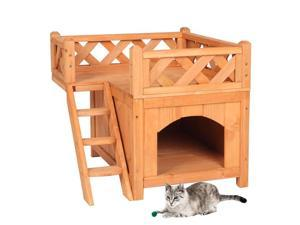 Pet Wooden Cat House Living House Kennel with Balcony