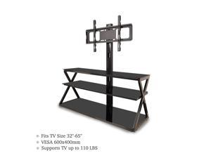 "32-65"" Corner Floor TV Stand with Swivel Bracket 3-Tier Tempered Glass Shelves"