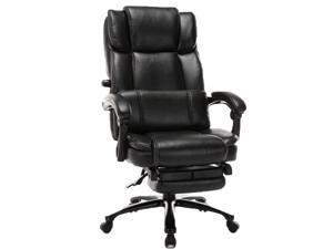 Big and Tall Reclining Office Chair - High Back Executive Computer Desk Chair with Adjustable Built-in Lumbar Support, Angle Recline Locking System and Footrest, Thick Padding for Comfort, PU Leather