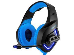 ONIKUMA Gaming Hedaset, Xbox One Headset with Noise Cancelling Mic & Stereo Surround Sound, Over-Ear Headohones with LED Light, PS4 Games Headset Compatible with Xbox One PS5 PC Mac Laptop