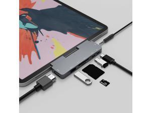 7 In 1 IPad Pro Hub With 4K HDMI,USB C HUB For IPad Pro 3.5mm Headphone Jack,USB3.0,USB C PD Charging Adapter