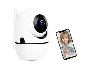 FHD 1080P WiFi Home IP Camera, Indoor Pan/Tilt 2.4Ghz Wireless Security Camera,Nanny Cam With Auto Tracking, Cloud Service, Night Vision, Two Way Audio For Baby/Elder/Pet (White)