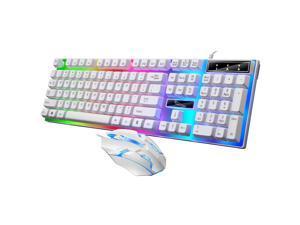 Wired Gaming Keyboard Rainbow Backlit Mechanical Keyboard Mouse Combo, LED 104 Keys USB Ergonomic Wrist Rest Keyboard, Mouse for PC Gamer