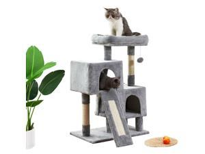 """34.4"""" Cat Tree Apartment with Sisal Grab Bar, Grab Board, Plush and Double Room, Cat Tower Furniture, Kitten Activity Center, Kitten Play House"""