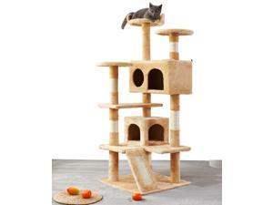 """52.76""""Cat Tree Apartment, with sisal railing, sisal rope scraper, deluxe double room, cat tower furniture, cat activity center (Yellow)"""