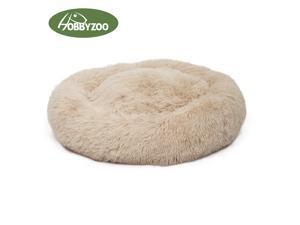 [HOBBYZOO] Pet Dog Cat Calming Bed Warm Soft Plush Round (khaki)